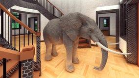 Слон в переводе живущей комнаты 3d иллюстрация штока