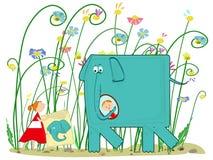 Слон, девушка и настоящие моменты иллюстрация вектора