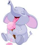 Слон есть мороженое Стоковые Изображения