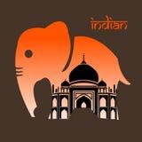 Слон Индии и предпосылки, дизайна вектора Стоковое Изображение