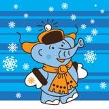 Слон идет в зиму Стоковые Изображения RF