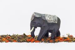 Слон идет над чаем и wolfberries стоковое изображение rf