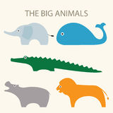 Слон, кит, крокодил, бегемот и лев Стоковое Изображение RF
