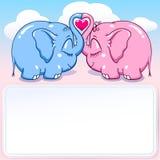 Слон младенца в знамени влюбленности Стоковая Фотография