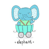 Слон нарисованный рукой милый в трейлере Печать для детей Стоковые Изображения RF
