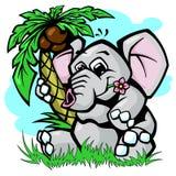 Слон под иллюстрацией вектора пальмы Стоковое Изображение