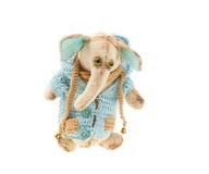 Слон плюша в связанной куртке Стоковое Фото