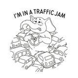 Слон Стоять в заторе движения Внутри руки Много автомобили Вектор, шарж Стоковые Фото