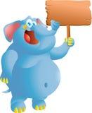 Слон с знаком Стоковая Фотография