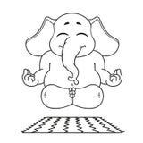 Слон Характер Делает йогу Большое собрание изолированных слонов Вектор, шарж Стоковая Фотография
