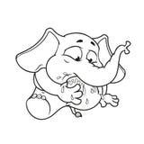 Слон Характер Моя нога в моем рте Большое собрание изолированных слонов Вектор, шарж Стоковое Изображение
