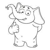 Слон Характер Он поднял палец, как Большое собрание изолированных слонов Вектор, шарж Стоковые Изображения RF