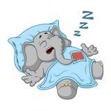 Слон Характер Он спит при глубокий сон, покрытый с одеялом Большое собрание изолированных слонов Вектор, шарж Стоковое Фото
