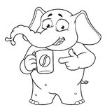 Слон Характер помадка чашки круасанта кофе пролома предпосылки Предлагает чашку кофе Большое собрание изолированных слонов Вектор Стоковые Изображения RF