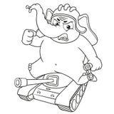 Слон Характер Сидеть на танке Большое собрание изолированных слонов Вектор, шарж Стоковое Изображение RF