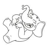Слон Характер Смех держа ее живот Большое собрание изолированных слонов Вектор, шарж Стоковые Изображения