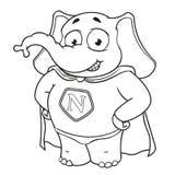 Слон Характер Супергерой в красном плаще Большое собрание изолированных слонов Вектор, шарж Стоковое фото RF