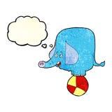 слон цирка шаржа с пузырем мысли Стоковые Изображения RF