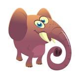 Слон шаржа милый Изолированные иллюстрация или значок вектора стоковые фото