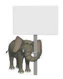 слон шаржа 3d с пустым знаком Стоковое Изображение RF