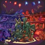 Слон Wrestles осел перед сердитой толпой Стоковые Фото
