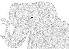 Слон Zentangle стилизованный иллюстрация вектора