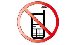 С передвижного переключателя знака с значка телефона отсутствие символа позволенного телефоном передвижного предупреждающего стоковое изображение rf