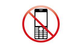 С передвижного переключателя знака с значка телефона отсутствие символа позволенного телефоном передвижного предупреждающего стоковое фото