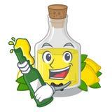 С пивом масло лимона полило внутри стекло мультфильма иллюстрация вектора
