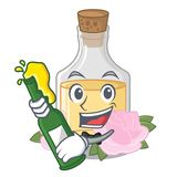 С пивом подняло масло политое в бутылке мультфильма иллюстрация штока