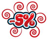 5% с потехи бирки Стоковое фото RF