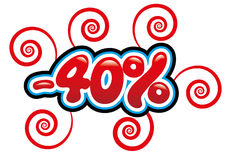 40% с потехи бирки Стоковые Фотографии RF