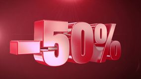 -50% с продвижений анимации продажи в красной предпосылке текста плавно loopable видеоматериал