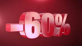 -60% с продвижений анимации продажи в красной предпосылке текста плавно loopable акции видеоматериалы