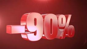 -90% с продвижений анимации продажи в красной предпосылке текста плавно loopable видеоматериал