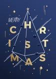 С Рождеством Христовым абстрактный плакат, карточка или предпосылка геометрии Minimalistic вектора Первоклассные цвета сини и зол Стоковые Фото