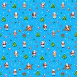 С Рождеством Христовым безшовная картина с смешным Санта Клаусом Стоковое Фото