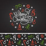 С Рождеством Христовым белый дизайн литерности и картина на заднем плане Стоковая Фотография