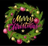 С Рождеством Христовым венок - иллюстрация современного вектора реалистическая с текстом каллиграфии Стоковая Фотография
