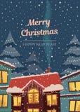 С Рождеством Христовым вертикальная карточка в подчиненных ретро цветах Городок зимы в светах и снежностях рождества Стоковая Фотография RF