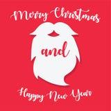 С Рождеством Христовым винтажная борода Санта Клауса стоковые изображения