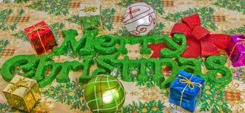 С Рождеством Христовым в зеленой литерности Стоковые Фото