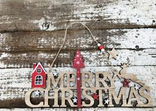 С Рождеством Христовым деревянный текст Стоковые Фотографии RF