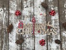 С Рождеством Христовым деревянный текст Стоковая Фотография
