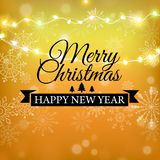 С Рождеством Христовым дизайн литерности яркого блеска золота Поздравительная открытка рождества, плакат, знамя Золотой блестящий бесплатная иллюстрация