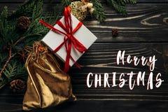 С Рождеством Христовым знак текста на стильном положении квартиры представляет с красным цветом Стоковое Изображение