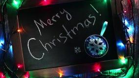 С Рождеством Христовым знамя с светами сток-видео