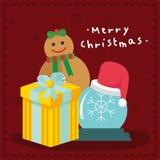 С Рождеством Христовым иллюстрация векторной графики предпосылки Брайна подарков Стоковые Фотографии RF