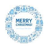 С Рождеством Христовым иллюстрация знамени круга с плоской линией значками Сосна поздравительной открытки Нового Года, настоящие  бесплатная иллюстрация