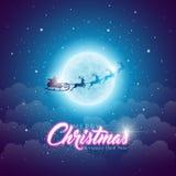 С Рождеством Христовым иллюстрация с летать Санта в луне на голубой предпосылке ночного неба Дизайн вектора для поздравительной о иллюстрация вектора